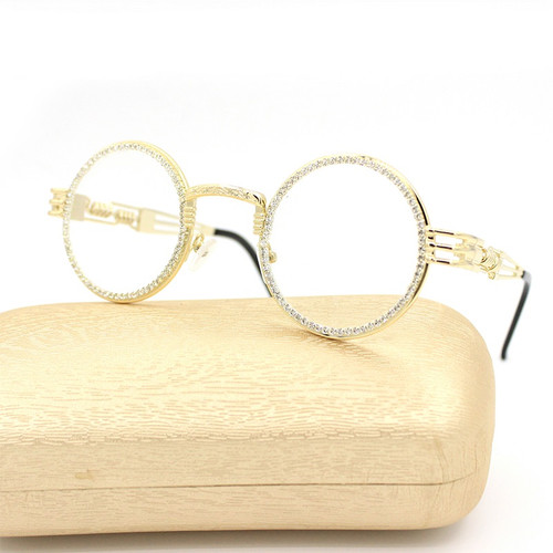Diamond Buffs Gold Metal Round Migos Rap Hip-Hop Eye Glasses Clear Sunglasses Quevo  Gafas Lentes