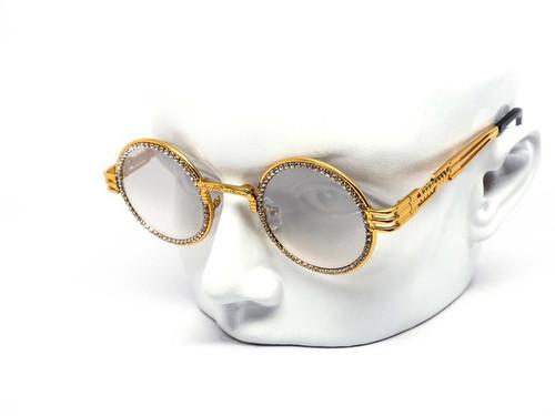 Diamond Buffs Gold Metal Round Migos Rap Hip-Hop Eye Glasses Clear Sunglasses Quevo  Gafas Lentes