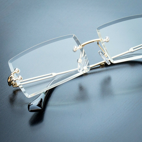Diamond cut Lens Glasses square Gold accents