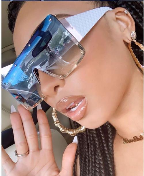 Men Women Sunglasses Oversized Big Large Vintage Single Lens Luxury Metal Rivet Trend Unique Female Eyewear Gafas Lentes