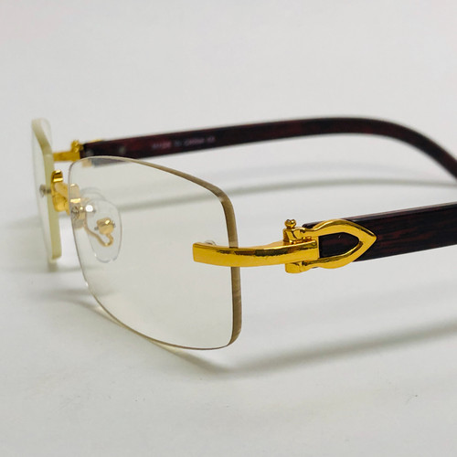 Men Classy Elegant Sophisticated Style Clear Lens Eye Glasses Gold Rimless Frame Gafas Lentes Hip Hop Rapper