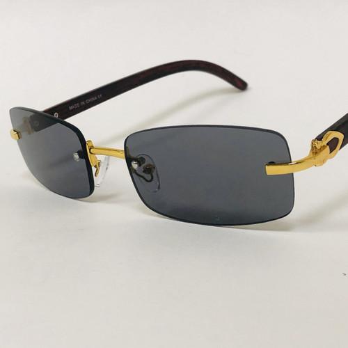 Men Classy Elegant Sophisticated Style Clear Lens Eye Glasses Gold Rimless Frame Gafas Lentes Hip Hop Rapper