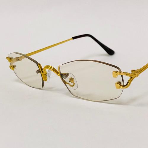 Men's Sunglasses Hip Hop Quavo Migos DIAMOND Rimless Square Frame Clear Lens New