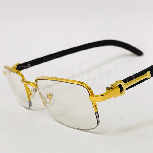 Fashion Rimless Metal Buffs Designer Eyeglasses Square Gold Clear Lens Glasses Gafas Lentes