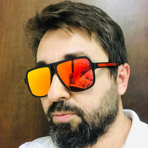 Men's Sunglasses Sport Fishing Golf Driving Red Fire Mirror Lens Glasses Shades Gafas Lentes