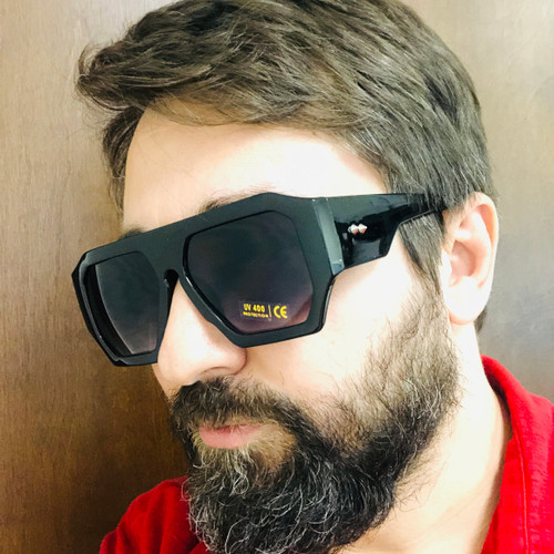 Men Sunglasses Fashion Black Oversize Big Designer Square Rapper Rap Black Retro Gafas Lentes