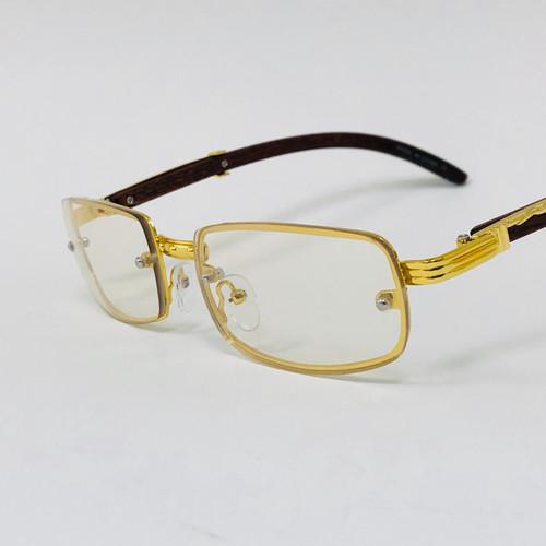 Fashion Rimless Metal Buffs Designer Eyeglasses Square Gold Clear Black Brown Lens Glasses Gafas Lentes