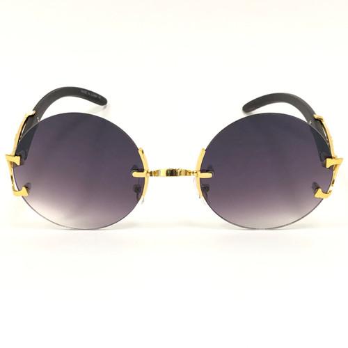 Men's Sunglasses Fashion Gold Metal Brown Wood Migos Buffs Rap Hip-hop Round NEW Gafas Lentes
