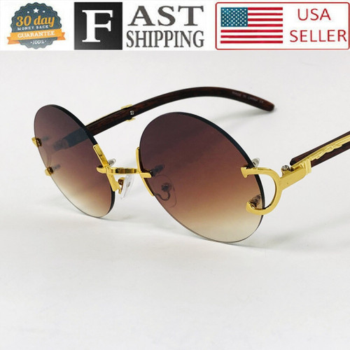 Men's Sunglasses Fashion Gold Metal Brown Wood Migos Buffs Rap Hip-hop Round NEW Gafas Lentes