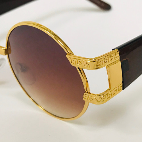 Men Women Sunglasses Round Fashion Retro Vintage New Designer Shades Gold Metal Round Gafas Lentes