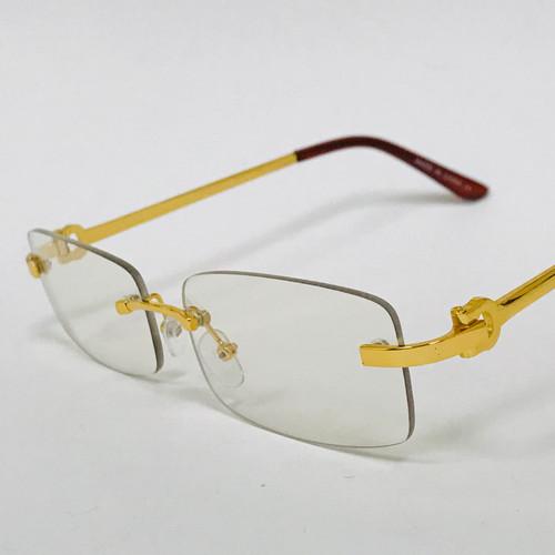 Men's Elegant Sophisticated Square Gold Rimless Frame Clear Lens Eye Glasses NEW  Migos Men Metal Buffs Design  Gafas Lentes
