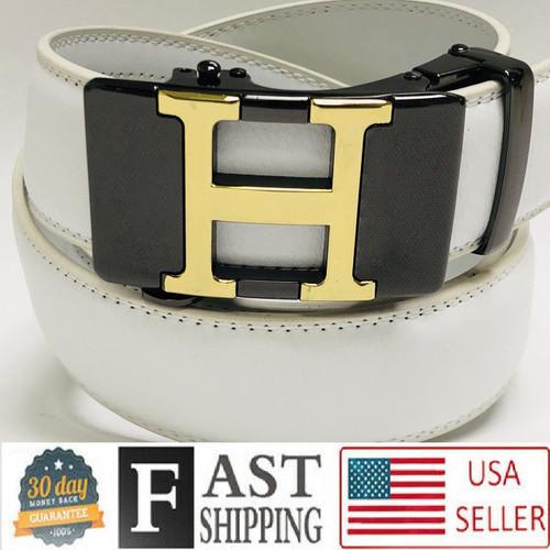 Fashion Buckle Men Leather No Hole Automatic Ratchet Slide Gold Metal 2020 Belt  Correas Cinturones Blancos de Piel Moderno Sin Hoyos Hombres Mujeres Dorado