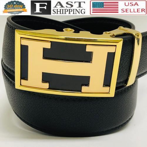 Leather Belt Men Women Ratchet Belt Autonomic Buckle Black Strap Track No Hole  Correas Cinturones Blancos de Piel Moderno Sin Hoyos Hombres Mujeres Dorado