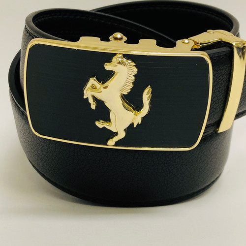 Fashion Automatic Designer Buckle Men's Gold Silver Horse Ratchet Leather Belt Stallion Slide Sliding Buckle nohole New Belt  Correas Cinturones de Piel Moderno Sin Hoyos Hombre Nueva Moda Track