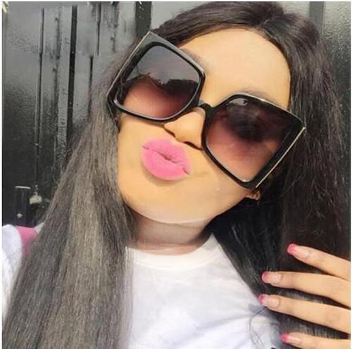 OVERSIZE BIG SQUARE VINTAGE WOMEN'S LIGHTNING METAL TEMPLE SUNGLASSES SHADES NEW  Gafas de Sol Lentes Oculos Espejuelos Moda Para Mujeres