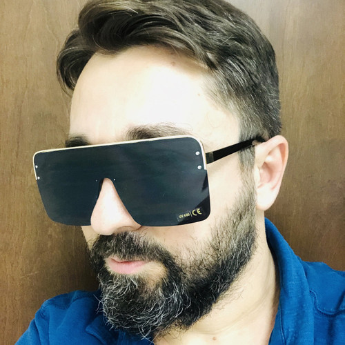 Oversize Square Rimless XL Flat Lens Design Shades Fashion Sunglasses Men Women Gafas Lentes Para Mujeres Hombres