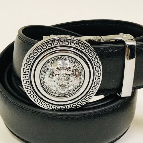 Men's Designer Leather Silver Lion Tiger Head Sliding Buckle no-hole Belt Correas Cinturones Blancos de Piel Moderno Sin Hoyos Hombres Mujeres Dorado