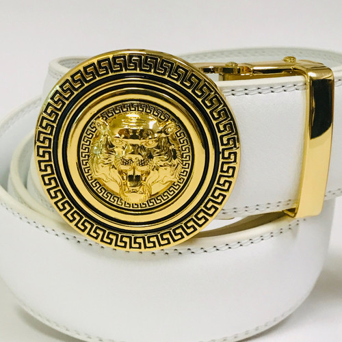 Men's Designer Leather Gold Lion Tiger Head Sliding Buckle no-hole Belt Correas Cinturones Blancos de Piel Moderno Sin Hoyos Hombres Mujeres Dorado