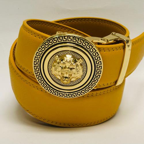 Men's Designer Leather Gold Lion Tiger Head Sliding Buckle no-hole Belt Correas Cinturones Blancos de Piel Moderno Sin Hoyos Hombres Mujeres Dorado