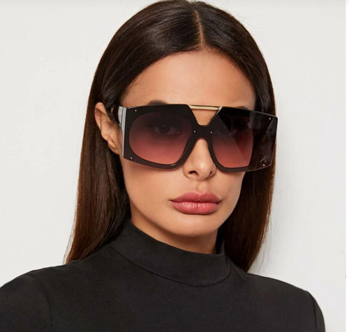 Oversized Big Large Square Designer Flat Top Bar Fashion Sunglasses Men Women Gafas Lentes De Moda Para Mujeres Hombres
