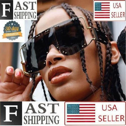 Men Women Sunglasses Oversized Luxury Metal Rivet Trend Unique Female Eyewear Gafas Lentes