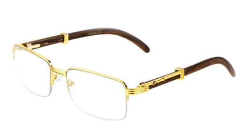 Fashion Mens Women Retro Vintage Clear Lens Gold Wood Frame Eye Glasses Designer  Gafas Lentes Espejuelos y Oculos de Sol De Moda Regalos Para Hombre