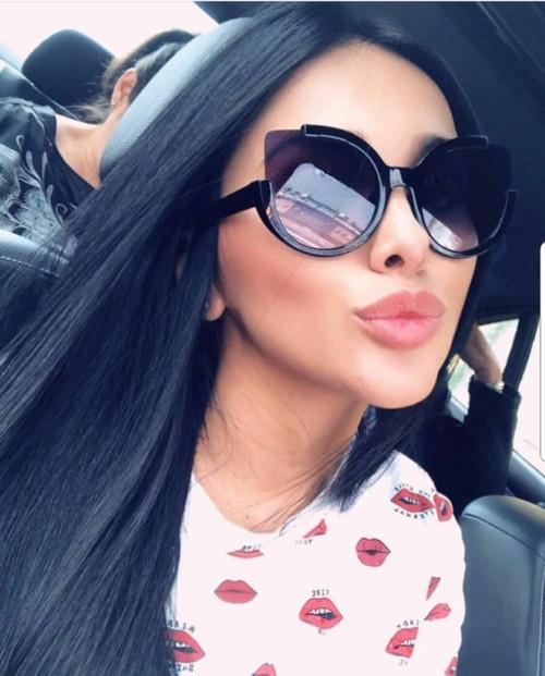 Women Sunglasses Oversize Big Fashion Designer Retro Round Cat Eye Flat Frame  Gafas De Sol Lentes De Moda Para Mujeres