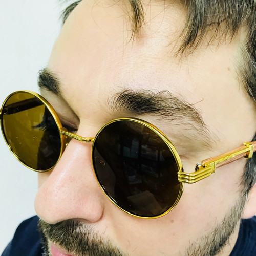 Fashion Gold Metal Frame Round Hip Hop Style Rapper Design Clear Lens Migos Buffs Rap Hip-hop Shades New Hot Sunglasses Gafs Lentes Para Hombres Vintage Wood Buffs Migos Design Eye glasses Round Gold Frame Clear Lens Glasses Men's Sunglasses Round 2020 Model Sophisticated