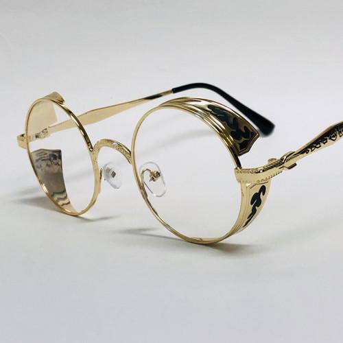 Fashion Metal Gold Round Buffs Designer Eyeglasses Frame Clear Brown Lens Glasses  Gafas Lentes