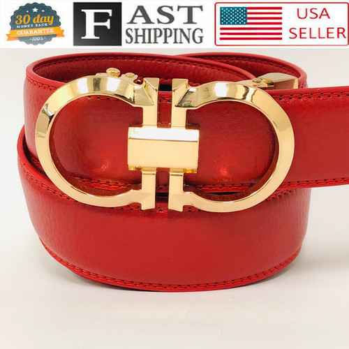 Designer Men Belt Women Gold Metal Buckle Automatic Slide Ratchet Click Locked Leather Fashion
