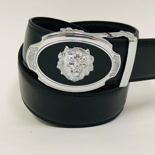 Designer Men Belt Silver  Oval Lion Head Metal Buckle Automatic Slide Ratchet Leather Belt