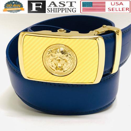 Designer Men Belt Gold Square Lion Head Metal Buckle Automatic Slide Ratchet Leather Belt