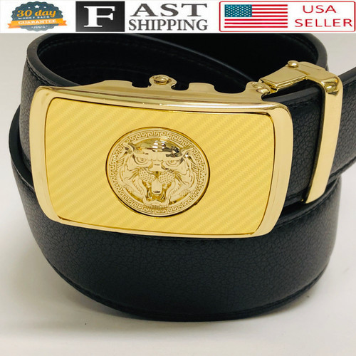 Designer Men Belt Gold Square Lion Head Metal Buckle Automatic Slide Ratchet Leather Belt