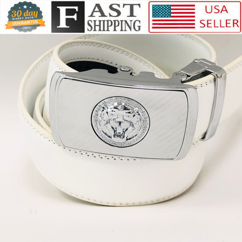 Designer Men Belt Silver Square Lion Head Metal Buckle Automatic Slide Ratchet Leather Belt