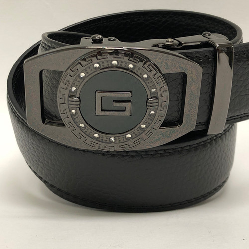 Men's Designer Leather Black Diamond Sliding Ratchet G Buckle Belt Click Locked
