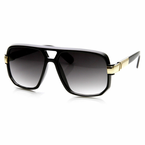 Men Designer Black Lens Sunglasses Hip Hop Shades Aviator Gold Frame Classic Square Style Grandmaster Celebrity Model Gafas Lentes Para Mujer