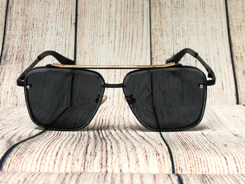 Men Designer Sunglasses Fashion Metal Square Shades Gold Black
