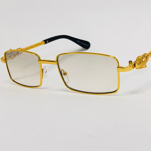 Men's Sunglasses Clear Lens  Hip Hop Rappers Gold Square Frame