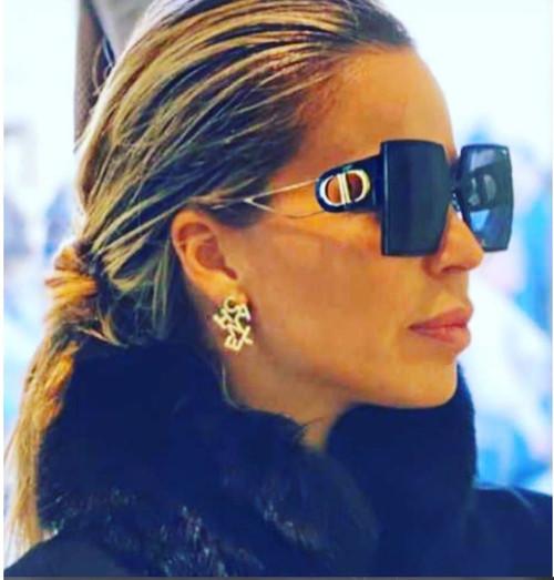 Women Sunglasses Designer Fashion Oversized Square Black Frame