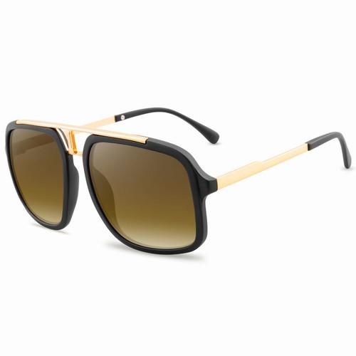 Men Sunglasses Square  Designer Gold Metal Bar  Shades