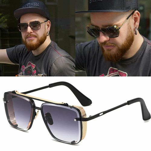 Men Designer Sunglasses Shades Gold Metal Frame Square Style Mach