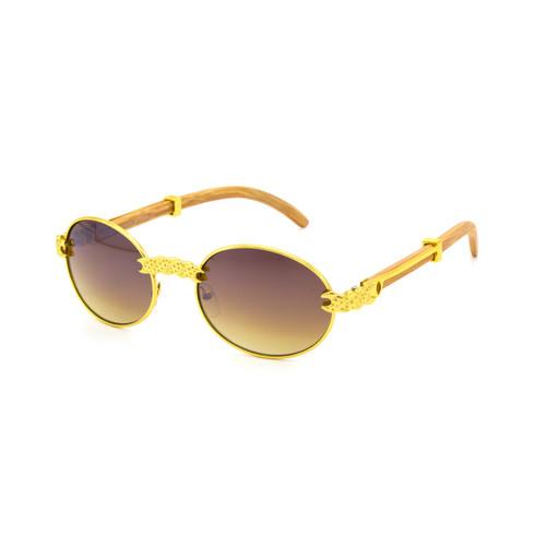 Men's Sunglasses Clear Lens  Hip Hop  Oval Gold Frame Shades