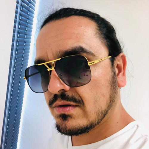 Men Sunglasses Designer Square Retro Shades Gold Frame Fashion