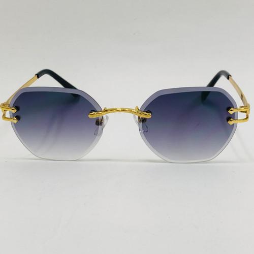 Men's Sunglasses Gold Frame Rimless Hip Hop Style Diamond Cut