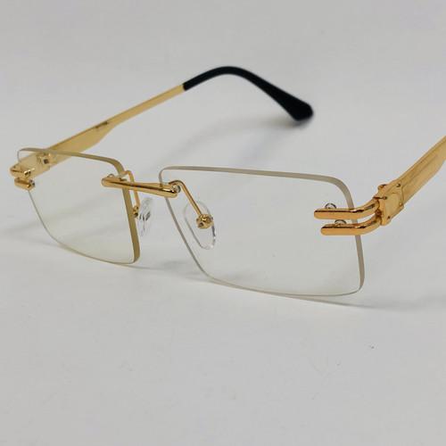 Men's Sunglasses Gold Frame Rimless Hip Hop Style  Square Double Temple