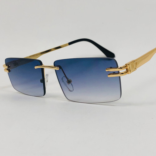 Men's Sunglasses Gold Frame Rimless Hip Hop Style  Square Double Temple