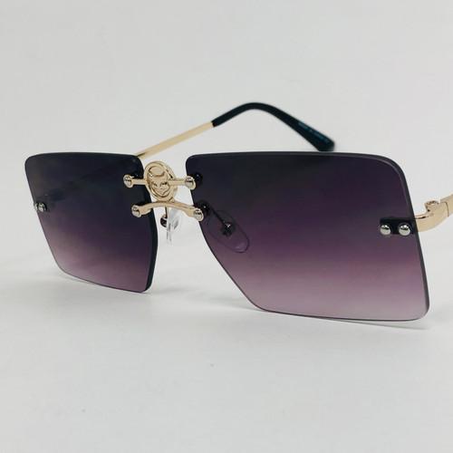 Men's Women's Small Square Gold Frame Rimless Sunglasses Hip Hop