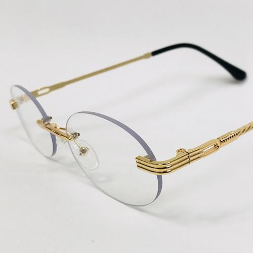 Men's Sunglasses Gold Frame Rimless Hip Hop Style  Oval  Small Quevo