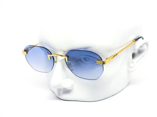 Men's Women's Sunglasses Gold Frame Rimless Hip Hop Style  Flat Lens Migos Quevo Shades