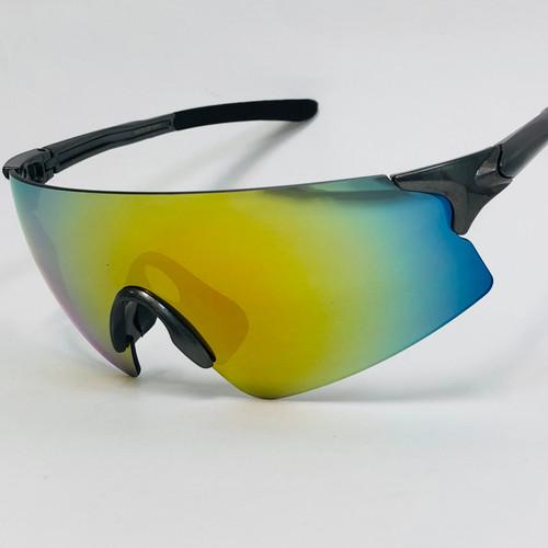 Men Cycling cyclist Sunglasses Sports Biker Oversize Single Lens Mirrored Shades